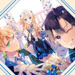 1girl 2boys :d absurdres alice_zuberg blonde_hair blue_bow blue_eyes blue_neckwear blue_ribbon bow closed_mouth dress eugeo fingernails green_eyes hair_ribbon highres kirito long_hair looking_at_viewer multiple_boys one_eye_closed open_mouth reaching_out ribbon smile sword_art_online sword_art_online:_alicization v vest violet_eyes white_background yuan_haruka