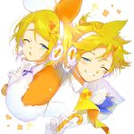 1boy 1girl blonde_hair blue_eyes bow candy candy_cane capelet chestnut_mouth commentary cropped_torso food fur-trimmed_capelet fur_trim gloves grin hair_bow half-closed_eye headphones headset highres holding holding_candy_cane kagamine_len kagamine_rin looking_at_viewer magical_mirai_(vocaloid) neckerchief one_eye_closed orange_bow orange_capelet oyamada_gamata short_ponytail smile spiky_hair two-tone_bow upper_body v vocaloid white_bow white_capelet white_gloves