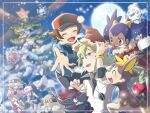 3boys 3girls :d applin bangs baseball_cap bianca_(pokemon) black_pants blue_jacket blush brown_hair cheren_(pokemon) christmas christmas_tree closed_eyes commentary_request dark_skin dark_skinned_female deerling delibird eyebrows_visible_through_hair eyelashes framed galarian_darmanitan galarian_darmanitan_(standard) galarian_form gen_2_pokemon gen_4_pokemon gen_5_pokemon gen_8_pokemon green_hair hat hilbert_(pokemon) hilda_(pokemon) iris_(pokemon) jacket jewelry merry_christmas multiple_boys multiple_girls n_(pokemon) nagi_(exsit00) necklace open_mouth orb pants pidove pokemon pokemon_(game) pokemon_bw pokemon_bw2 pokemon_masters_ex red_eyes red_headwear rotom rotom_(frost) santa_hat shirt smile spread_fingers teeth tongue vanillite white_shirt zorua |d