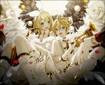 1boy 1girl anniversary backlighting bangs black_neckwear blonde_hair boots bow commentary dated dress fur-trimmed_collar fur-trimmed_dress fur_trim hair_bow hair_ornament hairclip highres holding holding_instrument instrument kagamine_len kagamine_rin knee_boots looking_at_viewer musical_note musical_note_hair_ornament necktie off-shoulder_dress off_shoulder open_mouth orb petals quarter_note saxophone shawl shirt short_hair short_ponytail shorts signature smile spiky_hair swept_bangs trumpet vocaloid white_bow white_dress white_footwear white_shawl white_shirt white_shorts white_uniform wings wreath yamiluna39