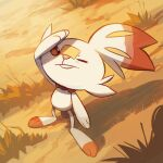 alaspargus closed_mouth commentary creature day english_commentary frown full_body gen_8_pokemon grass no_humans outdoors pokemon pokemon_(creature) rabbit scorbunny shadow solo standing sunlight