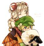 animal bare_shoulders blonde_hair blush braid closed_eyes farmer_(sekaiju) green_headwear hair_ornament hat hetero highlander_(sekaiju_2) holding holding_animal hug hug_from_behind kiharatta long_hair orange_skirt sekaiju_no_meikyuu sekaiju_no_meikyuu_2 sekaiju_no_meikyuu_3 sheep shin_sekaiju_no_meikyuu_2 simple_background skirt smile white_background white_hair