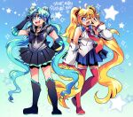 2girls alternate_hairstyle bangs bishoujo_senshi_sailor_moon black_gloves black_skirt blonde_hair blue_eyes blue_hair blue_skirt boots character_name cosplay costume_switch detached_sleeves elbow_gloves english_commentary gloves hair_between_eyes hairstyle_switch hatsune_miku knee_boots magical_girl multiple_girls one_eye_closed onsta open_mouth parted_bangs sailor_collar sailor_moon sailor_senshi_uniform skirt sleeves_past_wrists thigh-highs thigh_boots tsukino_usagi twintails v vocaloid