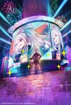 1girl aerial_fireworks bow brown_vest closed_mouth earrings fireworks floating_hair from_behind hair_bow hands_on_hips highres higuchi_kaede jacket jewelry long_hair looking_at_viewer looking_back nijisanji official_art open_clothes open_jacket pokimari ponytail profile school_uniform screen smile socks solo sweater sweater_vest very_long_hair vest violet_eyes watermark white_bow white_legwear white_sweater wind wind_lift
