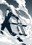 1boy absurdres crack cross facial_hair formal glasses gun highres holding holding_gun holding_weapon ishiyumi male_focus monochrome nicholas_d_wolfwood outdoors parted_lips sky smoke solo star_(sky) starry_sky stubble suit sunglasses trigun weapon