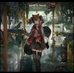 1girl absurdres angelina_(arknights) animal_ears arknights artist_name bag bird black_gloves black_legwear black_skirt breasts brown_eyes brown_hair bus_interior chinese_commentary commentary cowboy_shot earpiece english_text fire_extinguisher fox_ears gloves hairband hand_grip handbag handrail highres letterboxed looking_at_viewer medium_hair miniskirt plant red_vest road_sign scenery seat shirt shoulder_bag sign skirt small_breasts solo suitcase thigh-highs twintails vest vines warning_sign white_shirt zettai_ryouiki zzz_(orchid-dale)