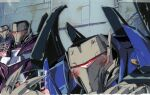 3boys alcohol blush cup decepticon english_commentary holding holding_cup leaning_forward looking_down marble-v mecha multiple_boys no_humans traditional_media transformers transformers_prime vehicon visor