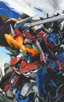 1980s_(style) 3boys autobot blue_eyes clenched_hand cover cover_page decepticon doujin_cover energy_axe english_commentary fire gun highres holding holding_gun holding_sword holding_weapon horns marble-v mecha menasor multiple_boys no_humans open_hand open_mouth optimus_prime red_eyes retro_artstyle sword textless transformers weapon