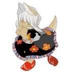 1other alternate_costume animal_ears apios1 bangs black_dress blush_stickers bow commentary dress eyebrows_visible_through_hair floral_print furry grey_hair hands_up horizontal_pupils long_hair made_in_abyss nanachi_(made_in_abyss) open_mouth orange_bow red_footwear shoe_removed shoes short_sleeves simple_background single_shoe sketch solo sweat tail whiskers white_background yellow_eyes