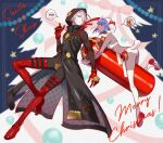 1boy 1girl animal_costume black_skin boots christmas_tree colored_skin fate/grand_order fate_(series) gloves hair_over_one_eye hassan_of_serenity_(fate) hooded_coat karna_(santa)_(fate) merry_christmas nishimura_eri punching_bag purple_hair red_gloves sheep_costume thigh-highs thigh_boots white_hair white_skin