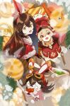 2girls absurdres ahoge amber_(genshin_impact) bangs baron_bunny blonde_hair blurry_foreground blush christmas christmas_gift christmas_ornaments christmas_tree dress drumsticks eating genshin_impact gift gloves hair_between_eyes hair_ribbon hat_feather highres klee_(genshin_impact) long_hair looking_at_viewer low_twintails multiple_girls niinoji o_o pointy_ears red_dress red_eyes red_headwear red_ribbon ribbon santa_dress treasure_chest twintails white_legwear wooden_floor yellow_eyes