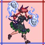 1girl animal_ears black_bow black_footwear black_ribbon black_tail bow braid cat_ears cat_tail clenched_hands closed_mouth dress extra_ears eyebrows_visible_through_hair full_body green_dress hair_bow hitodama juliet_sleeves kaenbyou_rin leg_ribbon long_hair long_sleeves looking_ahead multiple_tails pink_background pixel_art puffy_sleeves red_eyes redhead ribbon running shoe_bow shoes side_braids skull smile tail touhou tsukimiya_toito twin_braids two_tails v-shaped_eyebrows
