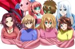 6girls black_rose_dragon blanket blonde_hair blue_eyes blush brown_hair cuddle cyber_petit_angel cyber_tutu dark_magician_girl dragon happy izayoi_aki kisara kuriboh mazaki_anzu multiple_girls pink_hair redhead sincity2100 smile snuggle tenjouin_asuka white_hair yellow_eyes yu-gi-oh! yuu-gi-ou yuu-gi-ou_5d's yuu-gi-ou_duel_monsters yuu-gi-ou_gx yuu-gi-ou_the_dark_side_of_dimensions