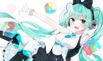 1girl :d absurdres aqua_eyes aqua_hair bangs black_bow black_dress black_footwear blush boots bow breasts cube dress eyebrows_visible_through_hair feet_out_of_frame gloves hair_bow hatsune_miku headphones highres knees_together_feet_apart knees_up long_hair looking_at_viewer magical_mirai_(vocaloid) makuhari-chan medium_breasts moka_01 necktie open_mouth outstretched_arm pantyhose simple_background smile solo tie_clip twintails very_long_hair vocaloid white_background white_gloves white_legwear
