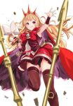 1girl :q absurdres black_footwear black_panties blonde_hair book boots bracer cagliostro_(granblue_fantasy) cape flat_chest granblue_fantasy hairband highres knee_boots long_hair open_book outstretched_arm panties pantyshot polearm purple_legwear red_cape red_skirt skirt solo spear spiked_hairband spikes tetsu_(kimuchi) thigh-highs tongue tongue_out underwear upper_body vambraces violet_eyes weapon