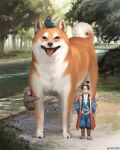 1boy animal ape arizuka_(13033303) bangs bird black_hair commentary_request day dog forest geta grass hakama hat japanese_clothes katana kimono looking_at_viewer momotarou nature original outdoors oversized_animal realistic river sheath sheathed shiba_inu sword tokin_hat tongue tongue_out topknot tree water weapon