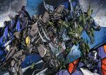 6+boys cover cover_page cybertron decepticon divebomb_(transformers) dreadwing english_commentary floating marble-v mecha multiple_boys no_humans one-eyed red_eyes science_fiction skywarp space starscream stockade thundercracker transformers transformers_(live_action) visor wire yellow_eyes