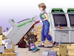 1980s_(style) 1girl 1other arcade_cabinet astro_city brown_hair cat cleaning commentary commission english_commentary full_body glasses gloves green_sports_bra jose_salot original overalls retro_artstyle shoes short_hair sneakers sports_bra sweat white_gloves