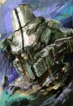 cherno_alpha colored_pencil_(medium) damaged english_commentary marble-v mecha missing_limb no_humans open_hand pacific_rim science_fiction sky solo traditional_media