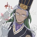 1girl 2boys ahoge chen_gong_(fate) chinese_clothes dark_skin dark_skinned_male evil_smile facial_mark fate/grand_order fate_(series) forehead_mark gameplay_mechanics glasses gloves hair_ornament hair_over_one_eye hat horse_boy jest_ht90 long_hair male_focus mash_kyrielight multiple_boys ponytail purple_hair red_hare_(fate/grand_order) smile smirk sparkle sweat translation_request tsurime violet_eyes white_gloves wide-eyed