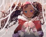 1girl 2020 artist_self-insert blue_eyes blush brown_hair capelet commentary curly_hair dark_skin dark_skinned_female english_commentary forehead fur-trimmed_capelet fur_trim hair_ribbon heterochromia highres long_hair looking_at_viewer merry_christmas mittens nachozarts portrait real_life red_capelet ribbon ringlets solo turtleneck twintails very_dark_skin violet_eyes winter_clothes