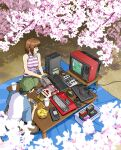 1girl baseball_cap black_hair box brown_hair cherry_blossoms chips commentary controller crt english_commentary famicom food game_cartridge game_console game_controller gamepad handheld_game_console hat jose_salot keyboard_(computer) original outdoors pc_engine playing_games potato_chips raglan_sleeves sega_mega_drive short_hair sleeveless table tagme television