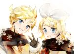 1boy 1girl bangs black_gloves black_scarf blonde_hair blue_eyes bow cable chinese_commentary commentary_request earphones english_commentary gloves grin hair_bow hair_ornament hairclip hand_up kagamine_len kagamine_rin looking_at_viewer mixed-language_commentary scarf shared_earphones short_hair short_ponytail smile snowflakes spiky_hair swept_bangs upper_body vocaloid w white_background white_bow yyb
