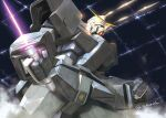 akamiho armor artist_name beam_saber clenched_hands firing from_below full_armor green_eyes gundam gundam_0080 gundam_alex holding holding_sword holding_weapon mecha no_humans solo sword v-fin weapon