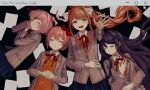 4girls blazer blue_skirt brown_hair buttons closed_eyes closed_mouth collared_shirt cursor doki_doki_literature_club eyebrows_behind_hair grey_blazer hair_ornament hair_ribbon hairclip hands_together highres jacket long_hair long_sleeves lying monika_(doki_doki_literature_club) multiple_girls natsuki_(doki_doki_literature_club) open_blazer open_clothes open_jacket orange_vest outstretched_arm papers pink_hair pleated_skirt ponytail purple_hair red_ribbon renshu_usodayo ribbon sayori_(doki_doki_literature_club) school_uniform shirt skirt sweater_vest twintails vest visible_ears white_ribbon white_shirt yuri_(doki_doki_literature_club)