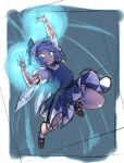 1girl arm_up black_bow blue_dress blue_eyes blue_hair bow brown_footwear cirno dated dress energy_ball flat_chest flying full_body hair_bow ice ice_wings mary_janes petticoat powering_up puffy_short_sleeves puffy_sleeves shoes short_hair short_sleeves signature sketch socks solo space_jin touhou white_buruma white_legwear wings