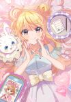 absurdres balloon bangs bare_shoulders blonde_hair closed_mouth eyebrows_visible_through_hair heart highres hutaba_haru jewelry long_hair magazine necklace notebook original pencil rabbit smile violet_eyes water