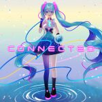 1girl absurdres album_cover bangs blue_eyes blue_hair breasts cover english_commentary english_text floating_hair hatsune_miku headset highres holding_orb long_hair open_mouth single_thigh_boot small_breasts solo song_name twintails vocaloid water yunare