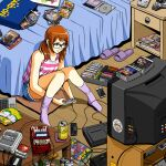 1girl bed bedroom black-framed_eyewear brown_eyes brown_hair commentary controller coronavirus_pandemic crt cutoffs english_commentary famicom game_cartridge game_console game_controller gamepad glasses jose_salot knees_together_feet_apart low_twintails messy_room original pc_engine playing_games short_hair shorts sitting socks solo striped super_nintendo tank_top television twintails