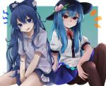 2girls ass bangle black_headwear black_legwear blue_eyes blue_hair blue_skirt bow bowtie bracelet breasts debt eyebrows_visible_through_hair feet_out_of_frame food fruit grey_shirt gunsou1350 hair_between_eyes hair_bow hat head_tilt hinanawi_tenshi jewelry knees_up long_hair looking_at_viewer multiple_girls notice_lines open_mouth pantyhose peach pleated_skirt puffy_short_sleeves puffy_sleeves red_bow red_eyes red_neckwear see-through_skirt shirt short_sleeves sitting skirt small_breasts touhou v-shaped_eyebrows v_arms very_long_hair white_shirt yorigami_shion