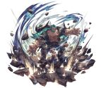 1boy abs attack bare_pecs barefoot beard brown_eyes cow_horns draph facial_hair fighting_stance full_body giant giant_male glowing glowing_eyes glowing_hair granblue_fantasy grey_pants horns jewelry long_hair male_focus minaba_hideo mugen_(granblue_fantasy) muscular muscular_male necklace official_art open_clothes open_shirt outstretched_arms pants pointy_ears rock shirt solo stomach torn_clothes torn_shirt transparent_background veins very_long_hair