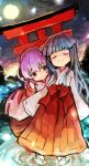 2girls blue_hair clip_studio_paint_(medium) closed_eyes closed_mouth eyebrows_visible_through_hair furude_rika hanyuu higurashi_no_naku_koro_ni horns japanese_clothes long_skirt long_sleeves miko multiple_girls nuancho pleated_skirt purple_hair red_skirt ripples skirt sky sleeves_past_fingers sleeves_past_wrists smile standing star_(sky) starry_sky torii violet_eyes water