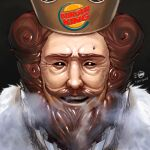 1boy amuscaria black_sclera breath bright_pupils brown_eyes brown_hair burger_king cape commentary copyright_name cracked_skin crown curly_hair dated english_commentary eyes face facial_hair fur-trimmed_cape fur_trim furrowed_eyebrows goatee horror_(theme) lips logo looking_at_viewer male_focus mustache nose short_hair signature simple_background solo the_king_(burger_king) thick_eyebrows upper_teeth white_pupils wrinkled_skin