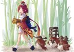 1girl 7aehyun apron bamboo bamboo_forest benienma_(fate/grand_order) bird brown_eyes brown_hair fate/grand_order fate_(series) forest hat long_hair low_ponytail nature ohitsu rice_spoon sparrow tray walking wide_sleeves