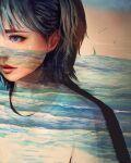 1girl absurdres boat facial_mark green_hair heart highres mole mole_under_mouth ocean original red_lips sailboat shirt short_hair solo upper_body violet_eyes wataboku watercraft