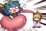 2girls =_= ^^^ antennae arm_support arms_between_legs artist_name bangs between_legs black_dress black_footwear blonde_hair blue_hair blush brown_headwear butterfly_wings chibi closed_eyes commentary dress emphasis_lines eternity_larva hair_ornament hair_ribbon hand_between_legs hat holding_another kneehighs leaf leaf_hair_ornament leaf_on_head long_sleeves long_tongue medium_hair moriya_suwako multiple_girls no_mouth o_o open_mouth purple_vest pyonta red_ribbon ribbon saliva scared shirt short_hair sidelocks simple_background sleeveless sleeveless_dress squatting surprised sweatdrop tongue tongue_hold touhou tress_ribbon turtleneck twitter_username unime_seaflower very_long_tongue vest wavy_mouth white_background white_legwear white_shirt wide-eyed wide_sleeves wings