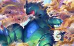 blue_eyes blue_sclera claws commentary_request fangs gen_2_pokemon glowing glowing_eyes looking_at_viewer nijimaarc no_humans open_mouth pokemon pokemon_(creature) sand solo tongue tyranitar