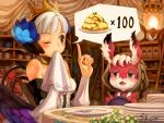 1girl animal_ear_fluff animal_ears armor armored_dress bangs blush breasts chair crown detached_sleeves dress food fork gwendolyn_(odin_sphere) highres hood hood_up index_finger_raised lantern multicolored multicolored_wings napkin odin_sphere one_eye_closed open_mouth plate pooka_(odin_sphere) rabbit_ears sho.t short_hair signature sitting sweat table violet_eyes white_hair wings wiping_mouth