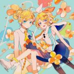 1boy 1girl anniversary balloon black_pants blonde_hair blue_background blue_skirt bow capelet commentary expressionless formal frilled_skirt frills fur-trimmed_capelet fur-trimmed_footwear fur_trim gloves hair_bow headphones heart highres jacket kagamine_len kagamine_rin looking_at_viewer magical_mirai_(vocaloid) makoji_(yomogi) open_mouth orange_bow orange_capelet orange_skirt pants shirt sitting skates skirt smile star_(symbol) star_print suit two-tone_bow vocaloid white_bow white_gloves white_jacket white_shirt yellow_neckwear
