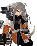 1girl ahoge arknights belt black_gloves black_sweater clenched_hand gloves grey_belt grey_eyes grey_hair hand_on_own_chin highres id_card jacket looking_to_the_side mayer_(arknights) open_hand orange_jacket ordriver ribbed_sweater short_hair smile solo sweater white_background