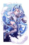 1girl absurdly_long_hair absurdres bare_shoulders blue_eyes blue_hair blue_nails blue_neckwear boots clouds commentary detached_sleeves earmuffs fangs full_body grey_legwear grey_sleeves hair_ornament hand_up hatsune_miku highres huge_filesize legs_up long_hair looking_at_viewer miniskirt nail_polish necktie pleated_skirt scarf shigupon shirt silver_skirt skin_fangs skirt sleeveless sleeveless_shirt smile snowflake_print snowflakes solo thigh-highs thigh_boots twintails v v-shaped_eyebrows very_long_hair vocaloid white_scarf white_shirt yuki_miku yuki_miku_(2011) zettai_ryouiki