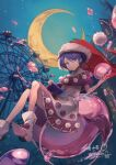 1girl absurdres alternate_color amusement_park animal_ears antinomy_of_common_flowers arm_at_side bangs blob blue_eyes blue_hair book bookmark boots bubble building closed_mouth commentary_request crescent_moon crossed_legs doremy_sweet dream_soul dress droplet ferris_wheel foreshortening fur-trimmed_headwear hair_between_eyes hands_up hat highres holding holding_book horns juse_(simasmasi) light_particles moon multicolored multicolored_clothes multicolored_dress night night_sky nightcap outstretched_hand partial_commentary pointy_footwear pom_pom_(clothes) purple_capelet purple_dress red_headwear santa_hat short_hair sidelocks signature sitting sky smirk solo stitches tail tapir_ears tapir_tail touhou white_dress white_footwear window