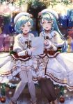 2girls :d absurdres alternate_hairstyle aqua_hair bang_dream! bangs bauble beret blurry blurry_background blush bokeh bow bow_choker box braid braided_bangs brooch brown_capelet brown_footwear brown_legwear buttons capelet choker christmas christmas_ornaments collarbone depth_of_field dress earrings eyebrows_visible_through_hair feet_out_of_frame fingernails flower frilled_dress frills fur-trimmed_capelet fur-trimmed_dress fur-trimmed_headwear fur-trimmed_shorts fur-trimmed_sleeves fur_trim gift gift_box green_eyes green_ribbon grey_legwear hair_between_eyes hair_bow hair_ornament hand_up hat hat_flower hat_ribbon highres hikawa_hina hikawa_sayo holding holding_paper jewelry layered_dress long_hair long_sleeves looking_at_another looking_at_object looking_to_the_side medium_hair mia_(fai1510) multicolored multicolored_ribbon multiple_girls open_mouth outdoors pantyhose paper pearl_(gemstone) pearl_hair_ornament pendant pointing pom_pom_(clothes) pom_pom_earrings red_bow red_choker red_flower red_ribbon ribbed_legwear ribbon shiny shiny_hair shoes shorts shorts_under_dress siblings sidelocks sideways_glance single_braid sisters sitting smile snow snowing star_(symbol) star_hair_ornament striped striped_ribbon swept_bangs thigh-highs twins upper_teeth white_dress white_headwear white_shorts winter yellow_ribbon
