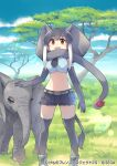 1girl african_elephant_(kemono_friends) akitsu_taira animal animal_ears apple arm_at_side belt brown_eyes company_name copyright crop_top cutoffs day elbow_gloves elephant elephant_ears elephant_tail extra_ears feet_out_of_frame food fruit gloves grey_hair hand_on_another's_head kemono_friends kneehighs midriff multicolored_hair navel necktie official_art open_mouth outdoors petting scarf shorts smile stomach tail two-tone_hair watermark white_hair