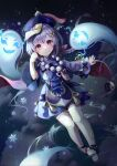 1girl absurdres bangs bead_necklace beads blue_theme blush braid coin coin_hair_ornament floating genshin_impact ghost hair_between_eyes hat highres huge_filesize jewelry jiangshi long_sleeves looking_at_viewer mirage48291584 necklace night night_sky purple_hair purple_headwear qing_guanmao qiqi short_hair sky smile snowflakes snowing spirit star_(sky) starry_sky talisman thigh-highs violet_eyes white_legwear wide_sleeves