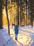 1girl blue_coat boots brown_footwear brown_hair coat commentary day deer english_commentary footprints forest fur-trimmed_coat fur_trim highres nature original outdoors pants shadow sky snatti snow standing tree winter